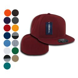 Decky Retro Fitted Flat Bill Baseball Hats Caps 6 Panel Plai