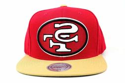 San Francisco 49ers Red Wheat White Mitchell & Ness Adjustab