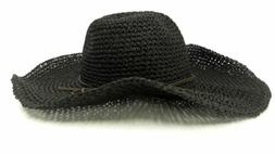 Straw Hat Womens Fitted SZ One Size Black Woven Sale Designe