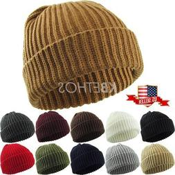 THICK Ribbed Beanie Knit Ski Cap Skull Hat Warm Solid Color