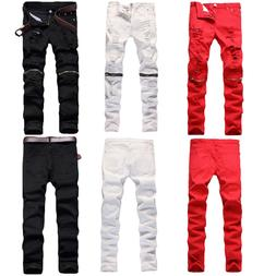 Trendy Men Retro Stretchy Skinny Distressed Pants Knee Zippe