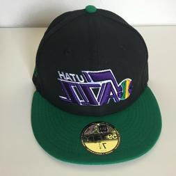 Utah Jazz NBA New Era 5950 Fitted Hat Black Green Purple Cap
