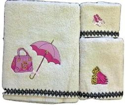 Vanity Fashion Purse Bath Hand Washcloth Towels 3 Pc Set Fas