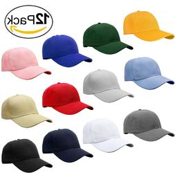 wholesale 12pcs classic plain baseball cap dad