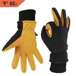 OZERO Winter Gloves with Windproof Deerskin Suede Leather an