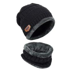 Mens Winter Knitting Skull Cap and Scarf Wool Warm Slouchy B